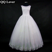 QQ Lover 2017 Lace Embroidered Beading Vintage Sweet Straps Wedding Dress Yarn Puff Vestido De Noiva