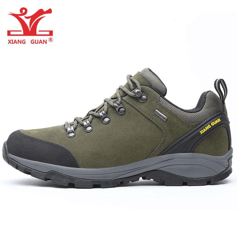 Man Hiking Shoes Men Genuine Cow Leather Trekking Boots Green Waterproof Tactical Climbing Shoe Sports Outdoor Walking Sneakers 2016 man women s brand hiking shoes climbing outdoor waterproof river trekking shoes