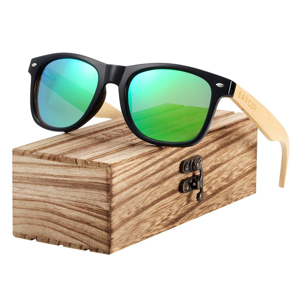 BARCUR Madeira Óculos De Sol Dos Homens Polarizada óculos de Sol de vidro De Vidro De Bambu do Sexo Feminino Mulheres com Dobradiça de Mola