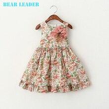 Líder del oso Girls Vestido de Verano 2017 Muchachas de la Marca de Ropa de Niños Vestidos Florales Sin Mangas de Los Niños Vestido de Princesa Costume 3-7Y(China (Mainland))