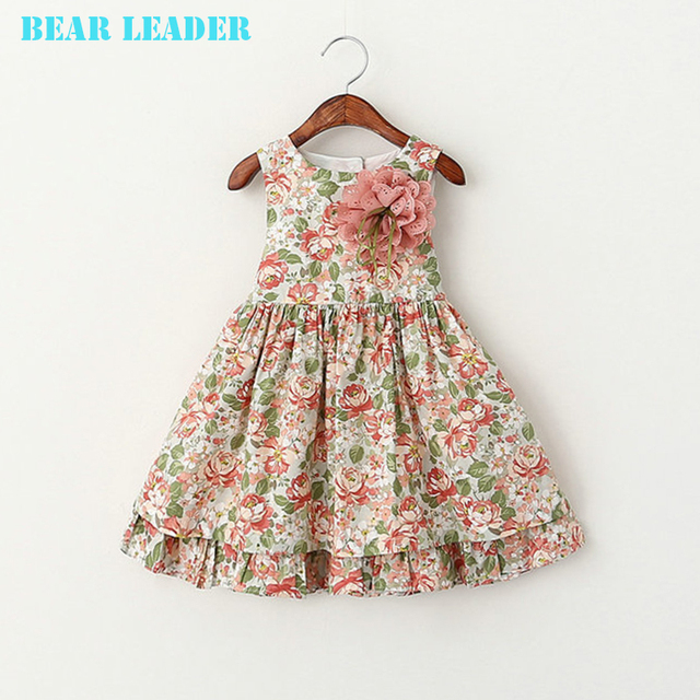 Bear Leader Girls Dress Summer 2016 Brand Girls Clothes Kids Dresses Floral Sleeveless Children Dress Princess Costume 2-6Y