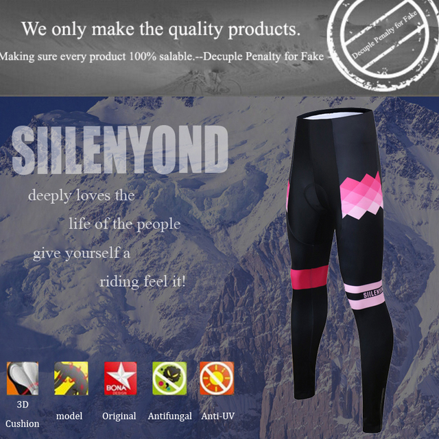 Siilenyond 2019 Winter Cycling Pants Shockproof Thermal Cycling Bicycle Trousers Keep Warm MTB Bike Cycling Tights For Women 2