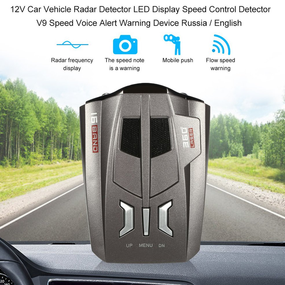 360 degree 16 Band USB Scanning LED Radar Detector Laser Auto Car Speed Testing System