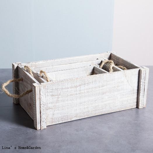 Stack 3 Pieces Handmade White Vintage Wooden Planter Box In Flower