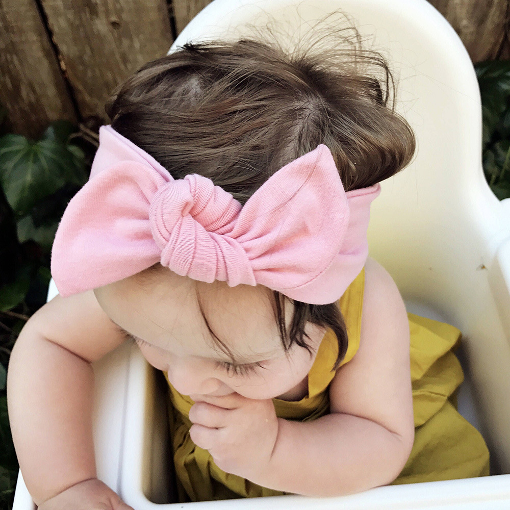 Bebe Headband Sweet Girls Bow Hairband Kids Turban Knot Rabbit Head Wrap Rabbit Ear Bow Headwear Hair Accessories 1 pc women fashion elastic stretch plain rabbit bow style hair band headband turban hairband hair accessories
