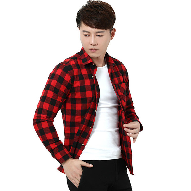 Red Black Mens Plaid Flannel Shirts Slim Fit Sprint Autumn Long Sleeve Shirt Brushed Tartan Casual Social Cloth Camisa Masculina