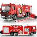 Liga Brinquedo Carro escala 1:50 Die Cast Modelo Caminhão de Bombeiros De Metal + ABS, delicado Pote De Água de Incêndio do Caminhão De Resgate Brinquedos Crianças Brinquedos