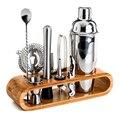 Guibobo cocktail shaker conjunto 10 ferramentas com 1 rack de madeira (750ml) para bar profissional tender pub beber no0196121236