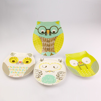 2016 Hot Selling Lovely Melamine Baby Dinner Plate Tray Cartoon Snack Dish Fruit Plate Lovely Owl Plate Free Shipping