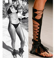 Sexy Black Fringe Flat Shoes Woman Ancient Greek Gladiator Sandals Women Boots Lace Up Knee High Boots CutOut Summer Boots Botas