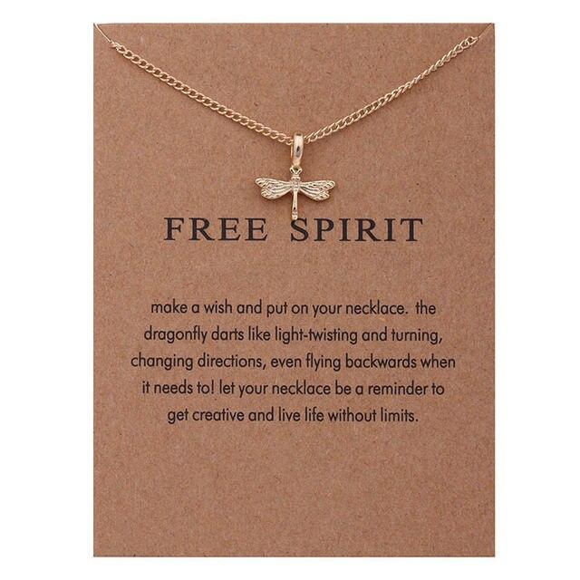 XUSHUI Free Spirit Libelle Gold farbe Anhänger Schlüsselbein ...