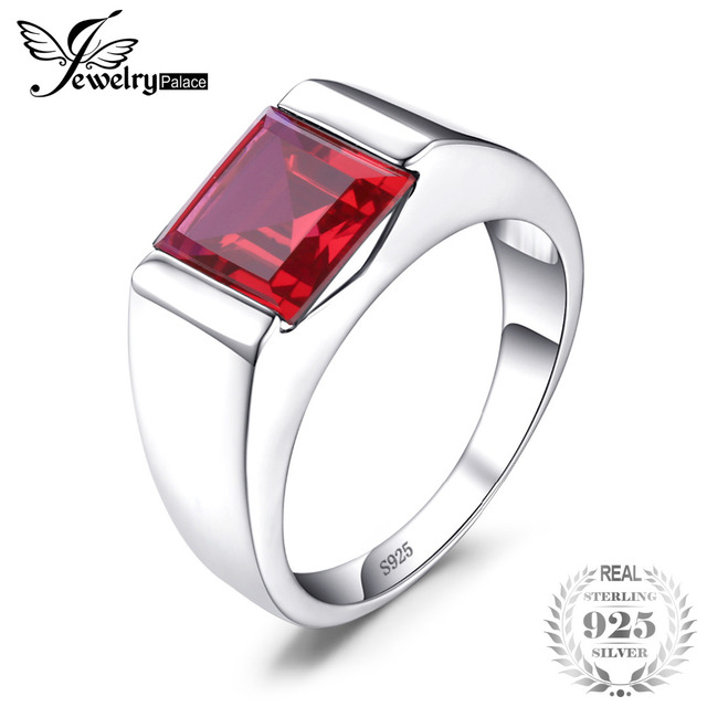 JewelryPalace Men's Square 3.3ct Created Red Ruby Genuine 925 Sterling Sliver En