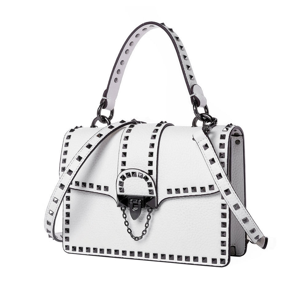 Kajie Really Genuine Leather Fashion Rivet Bags Handbags Women Famous Brands Cowhide Classic Casual Tote Female Shoulder Bag