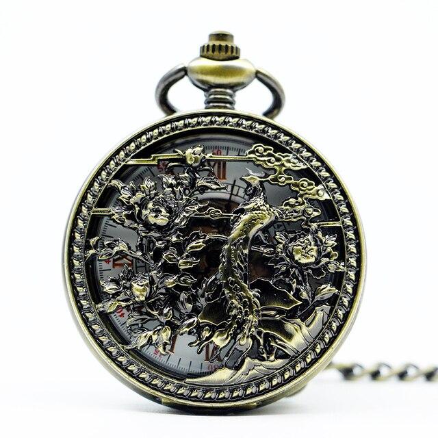 comprar lujo Cantidad limitada proporcionar un montón de Relojes de enfermería Vintage marca superior reloj bolsillo mecánico pájaro  esfera esqueleto para hombre mujer con cadena Fob PJX1274