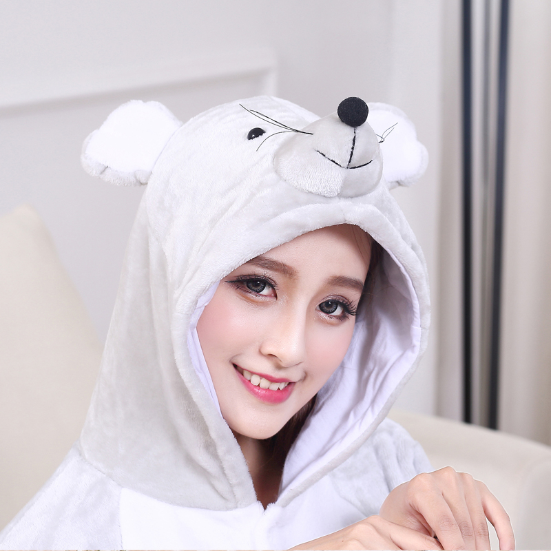 Soft Gray Mouse Onesie Flannel Warm Cute Pajamas Kigurumi Animal Sleepwear Adult For Women Cosplay home Special Costume Jumpsuit (7)