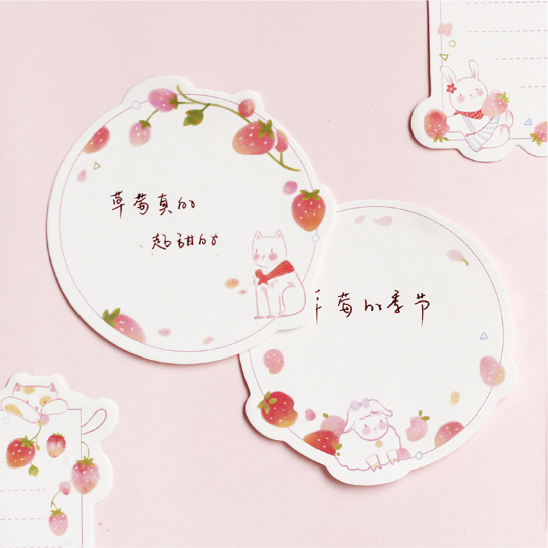 Kawaii Cute Strawberry Sticky Note Sticker Bookmark Marker Memo Pad Flags List Agenda Stationery School Office Supplies sl1967