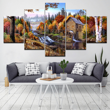 Small village in the forest landscape 5 Piece Wallpapers Art Canvas Print modern Poster Modular art painting  Home Decor forest waterfall landscape 5 piece canvas wallpapers modern modular poster art canvas painting for living room home decor