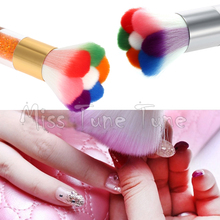 Flower Nail Dust Brushes Acrylic UV Nail Gel Powder Nail Art Dust Remover Brush Cleaner Rhinestones