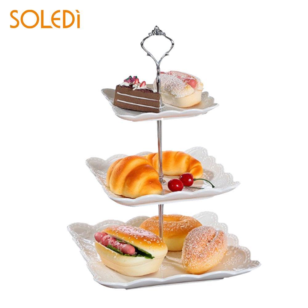 Металлическая подставка для торта с короной для свадебной вечеринки, посуда для выпечки, подставка для торта, 2/3 - Цвет: three layers silver