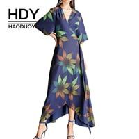 HDY Haoduoyi Brand Women Multi Floral Printed Bohemian Dresses Deep V Neck Belt Waist Female Elegant