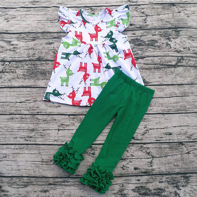 da50c24fa Aiqqwit Wholesale Children Cotton Boutique Christmas Outfits Reindeer New  Year Baby Clothes Sets