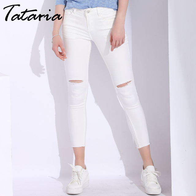 5e534f14d0d White Skinny Jeans Woman With Holes Slim Pencil Denim Pants Ripped Jeans  For Women High Waist