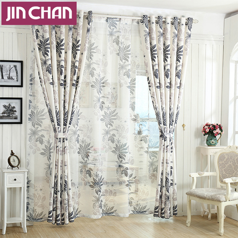 Leaves printing off white blackout window curtains for - Off white curtains for living room ...