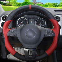 BANNIS Red Black Leather Car Steering Wheel Cover for Volkswagen VW Gol Tiguan Passat B7 Passat CC Touran Magotan