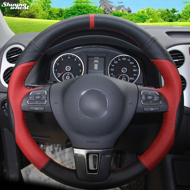 Shining wheat Red Black Leather Car Steering Wheel Cover for Volkswagen VW Gol Tiguan Passat B7 Passat CC Touran Magotan-in Steering Covers from Automobiles & Motorcycles    1