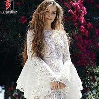 HAGEOFLY New Fashion 2018 Designer White Runway Dress Wedding Party Women's Flare Sleeve Cascading Ruffles Lace Dresses Vestidos