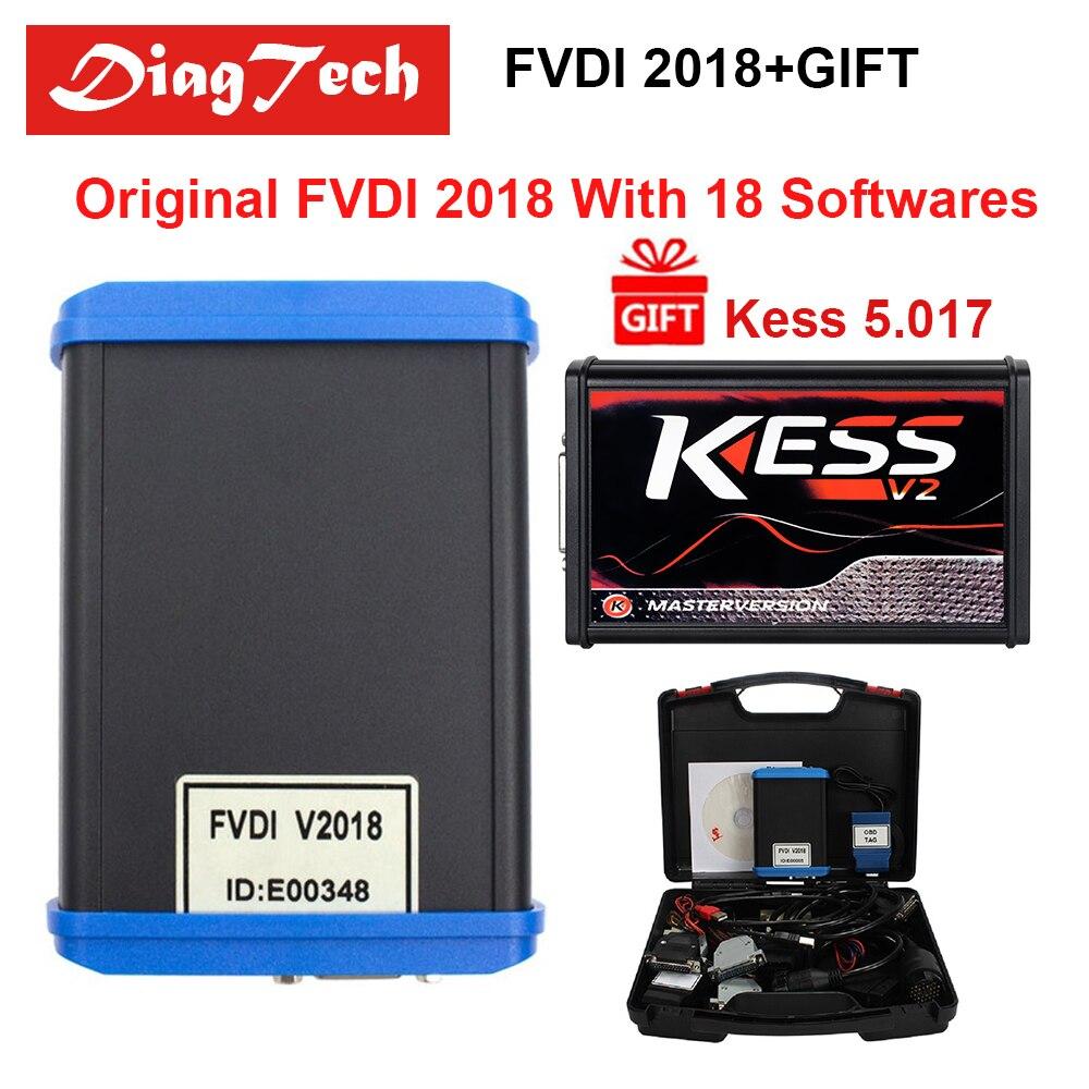 Заводская цена оригинальный FVDI 2018 ABRITES + KESS 5,017 диагностический инструмент крышка все функции 2014 2015 с 18 программного обеспечения DHL Бесплатна...