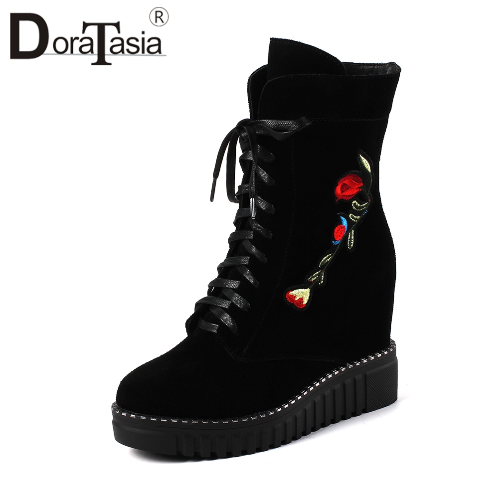 DORATASIA Elegant Embroider Flower Ankle Boots Women Cow Suede Platform Shoes Woman Autumn Winter Height Increasing
