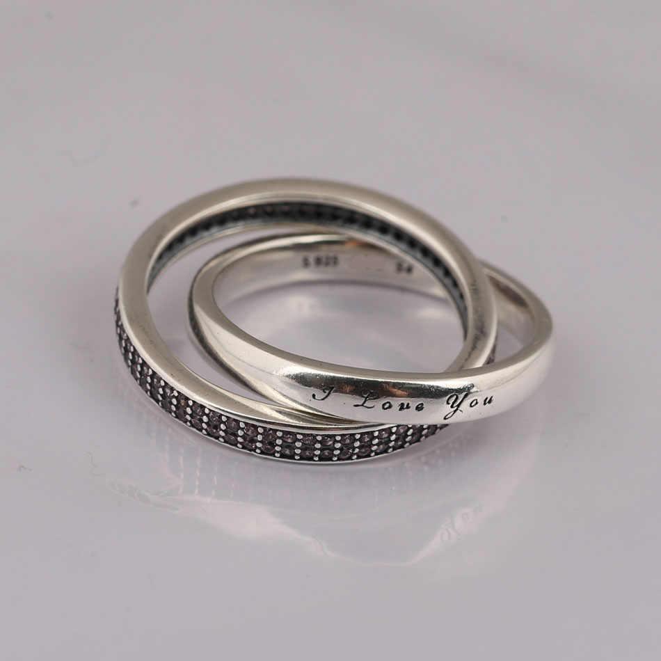 ... Аутентичные 925 пробы Серебряное кольцо для женщин Сладкий обещание  Розовый CZ I Love You подарок fit ... 1eabf26355e