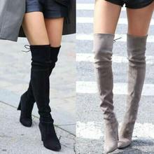 Nice Spring Women Shoes Women Boots Knee High Boots Leg Bag Over The Knee high-heeled Knee Boots Plus Size cheap Stretch Fabric Over-the-Knee Slip-On Basic Pointed Toe Super High (8cm-up) Strange Style Spring Autumn Solid Rubber Fits true to size take your normal size