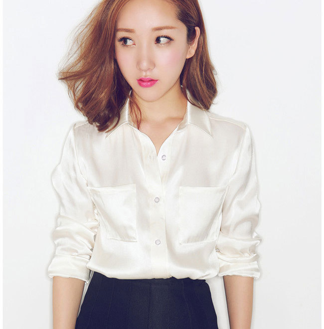 S XXXL women Fashion silk satin blouse button ladies silk blouses ...