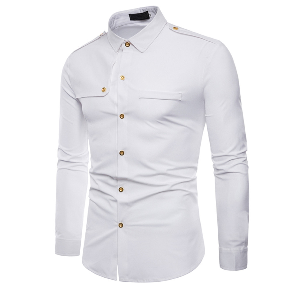 Feitong Men's Fashion Military Combat Slim Shirts Mens Fit Long Sleeve Top Casual Shirt Man Turn-down Collar Cotton Shirt#g40 Ideal Gift For All Occasions