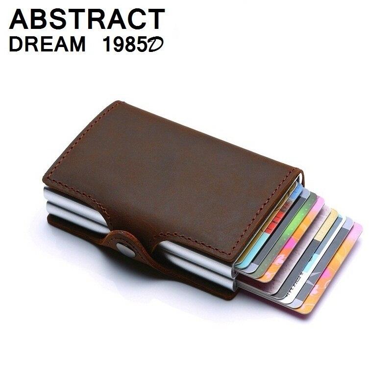 2019 RFID portefeuille vintage hommes en cuir véritable moraillon affaires porte-carte en Aluminium automatique de luxe femme Double couche sac à main classique