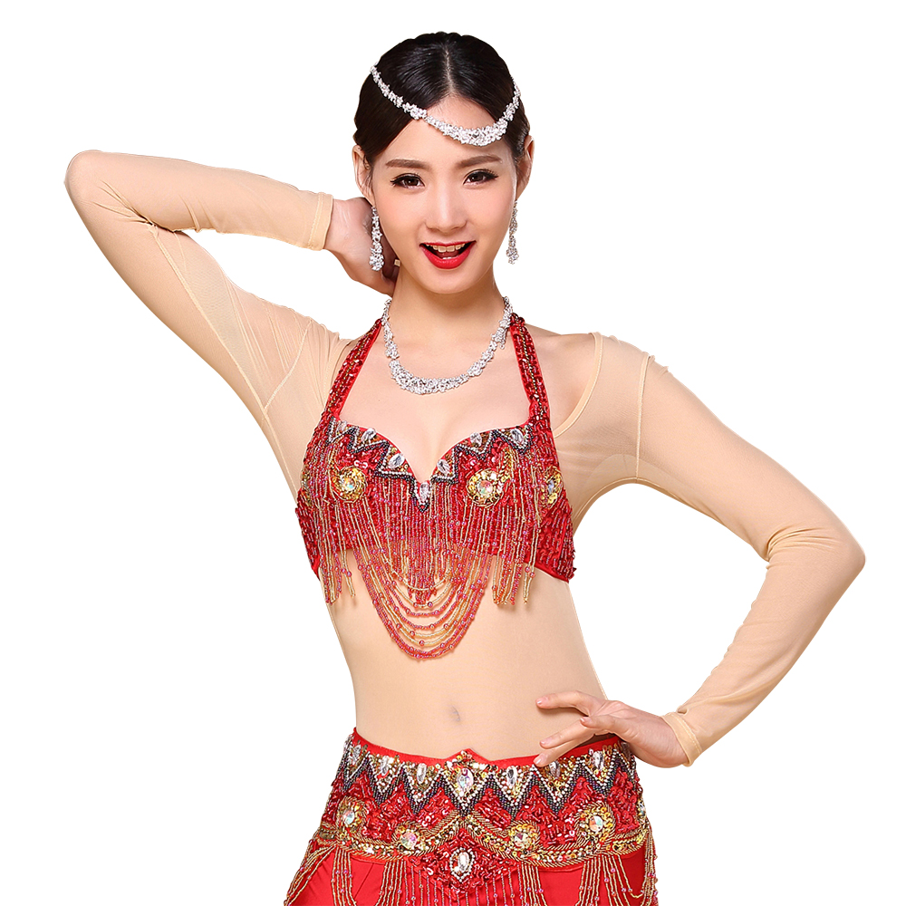 Belly Dance Tops Plus Size One Piece Dance Wear Long Sleeves Accessories Women Bodysuit Bottoming Shirt Transparent