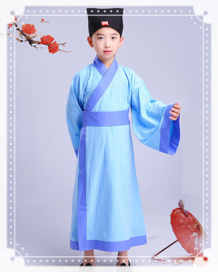 Little boy Child Chinese style Costume Baby Hanfu Bookboy Guoxue clothes Three words Dizi rules Costume in Chinese Folk Dance from Novelty Special Use