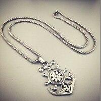 Fashion Silver Tone Anchor Pendant Necklace Titanium Steel 70CM Boxing Link Chain Helm Charm Hip Hop