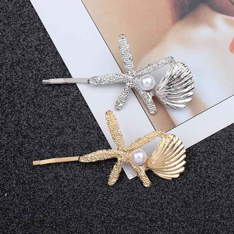 Women Gold Silver Leaf Feather Hair Clip Fashion Sea Star Shell Hair Pins Pearl Hairpin Barrette Hair Jewelry Head Accessories