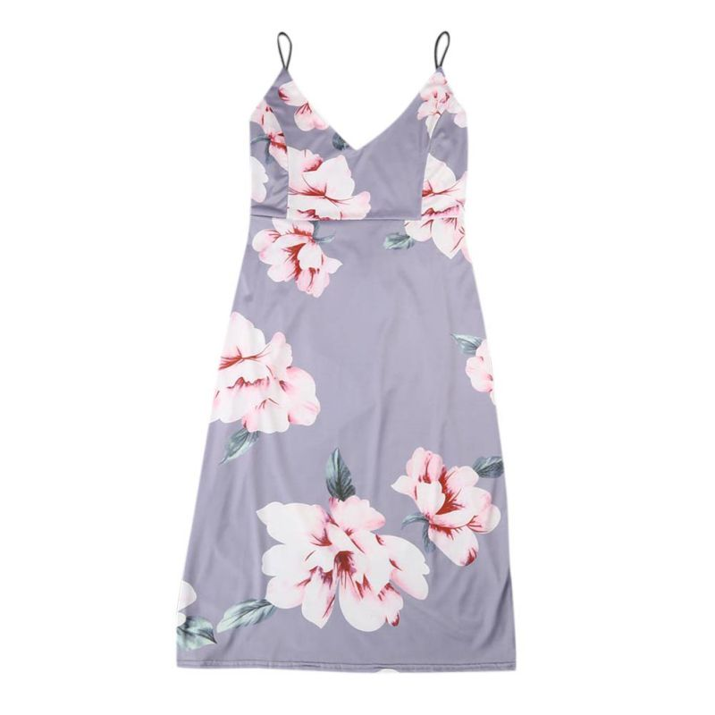 Floral Sundress Women Strap Dress Chinese Style Printing Cloth Knee-Length Floral Summer Boho Dress