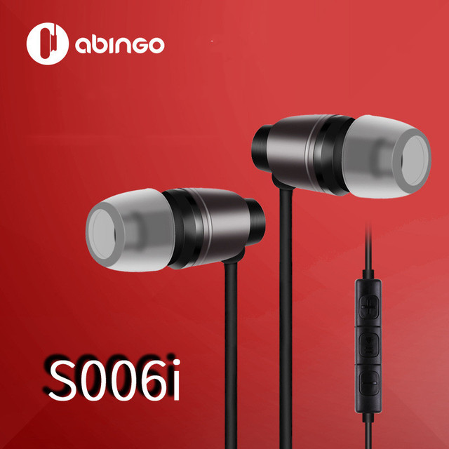 abingo S006i Mini Stereo Earphone Hifi Dynamic in Ear Earbuds Metal Headset with Microphone 3.5mm Jack Wired Earphones for Phone