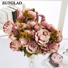 1pcs Bouquet Bridal 6 Heads Silk Flowers Beautiful Peony Flower Home Wedding Decoration