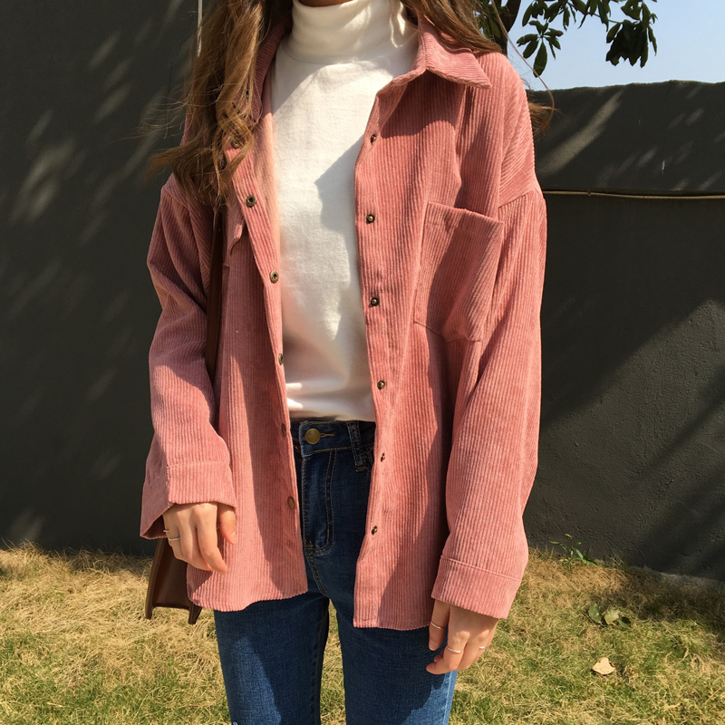 2 colors 2018 spring and autumn Loose   Shirts   Korean Solid   Blouse   Long Sleeve Corduroy   blouses   Women Tops outwear coats C6016