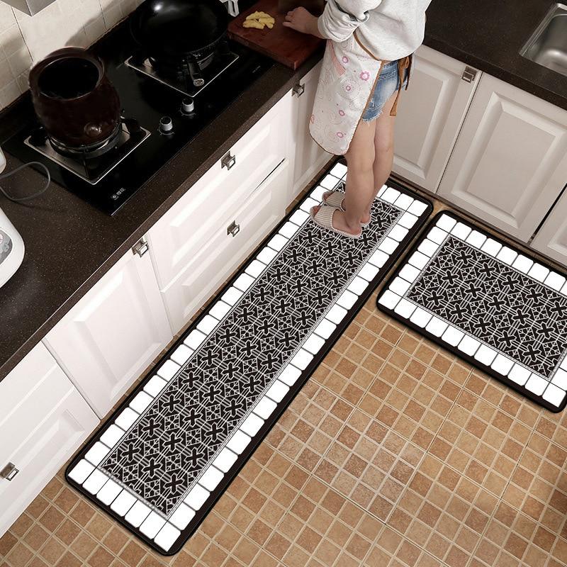 European Black and White Geometric stitching flowers kitchen stripe mat Non slip carpet Bedroom bedside rug plush floor mat in Mat from Home Garden
