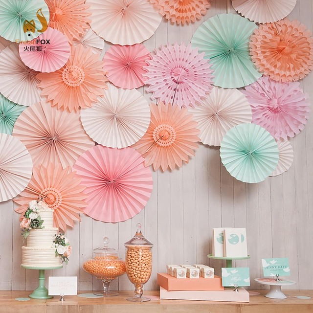 Tiffany Blue Cut Out Paper Fans Pinwheels Hanging Flower For Party Baby Shower Wedding Aniversary