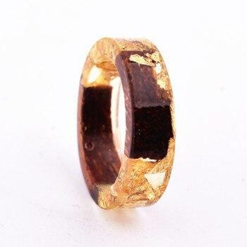 Handmade Flowers Wood Resin Ring19