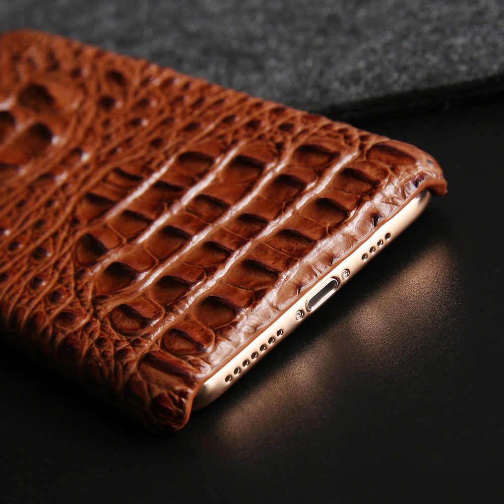 Натуральная кожа жесткий футляр для Iphone Xs Max Xr X 10, 8, 7, 6 6s плюс роскошный головы крокодила задняя крышка для samsung Note 9 8 S9 плюс