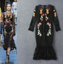 Fashion woman's full sleeve lace dress sexy embroidery flower fishtail dress slim black dress S-XL size